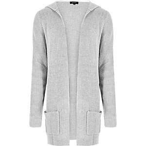 Grey ribbed cardigan