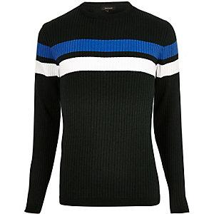 Dark green stripe panel jumper