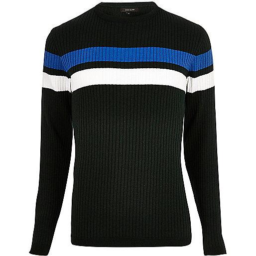 Dark green stripe panel sweater