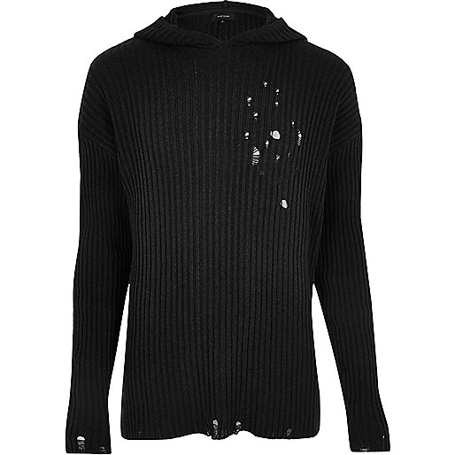 Black ripped knit hoodie