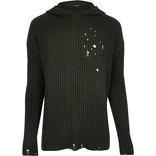 Dark green ripped knit hoodie