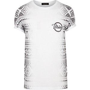 White Aztec side print T-shirt