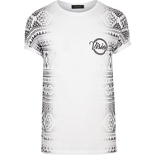 White Aztec side print T-shirt