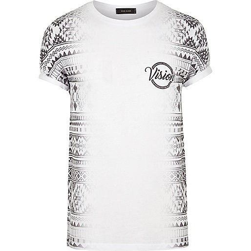 T-shirt blanc à imprimé aztèque sur le côté