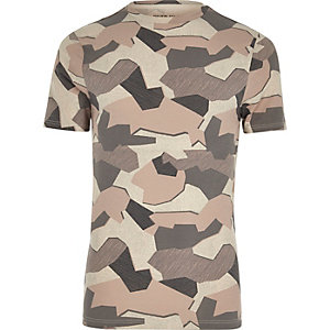 Stone jigsaw camo muscle fit T-shirt
