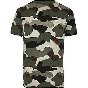 Green jigsaw camo muscle fit T-shirt