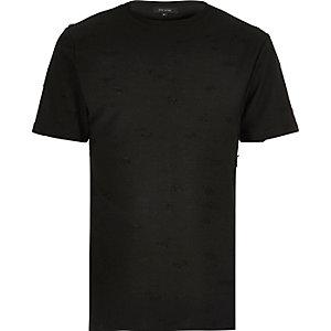 Black distressed crew neck T-shirt