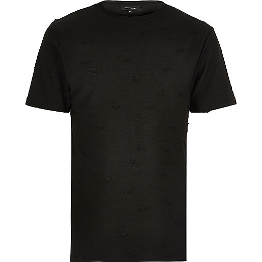 Black distressed crew neck T-shirt