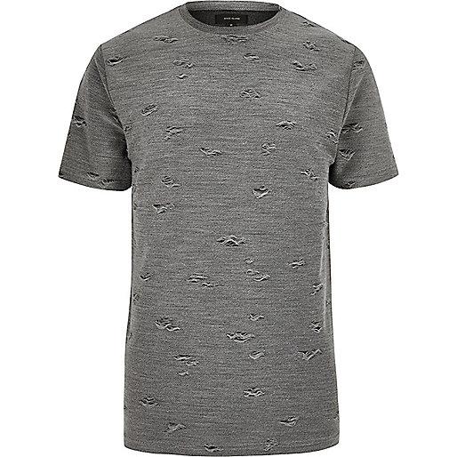Grey distressed crew neck T-shirt