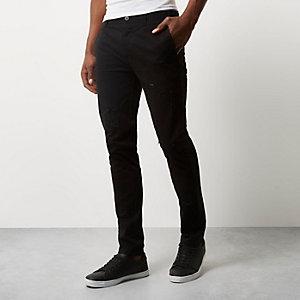 Pantalon chino noir déchiré coupe skinny