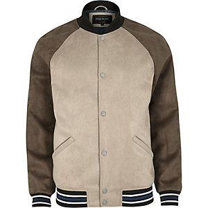 Stone block faux suede varsity jacket