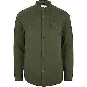 Khaki green twill casual western shirt