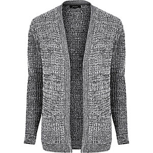 Grey waffle knitted cardigan