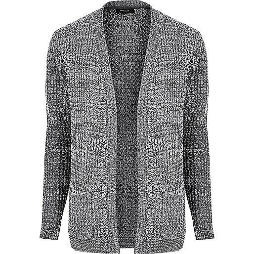 Cardigan en maille gaufrée gris