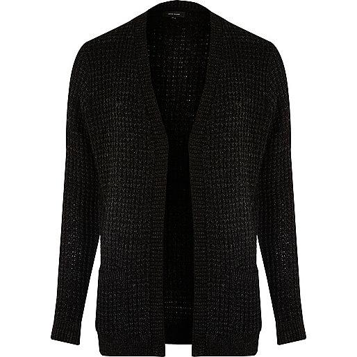 Cardigan en maille gaufrée noir