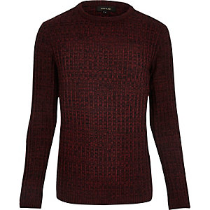 Dark red ribbed jumper