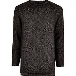 Dark grey textured crew neck sweater