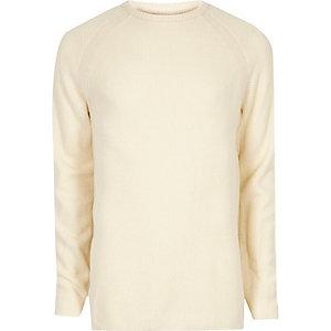 Cream textured crew neck sweater