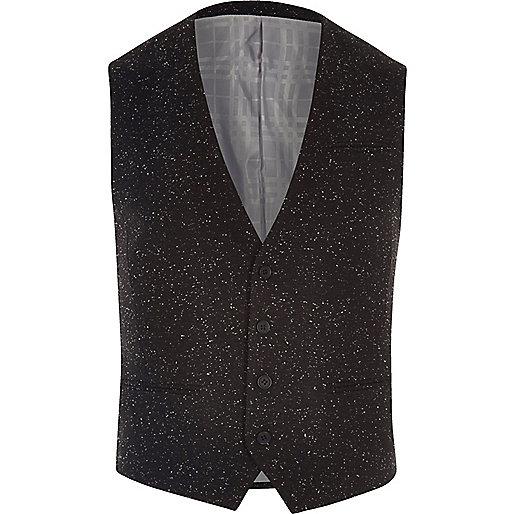 Black textured Vito waistcoat