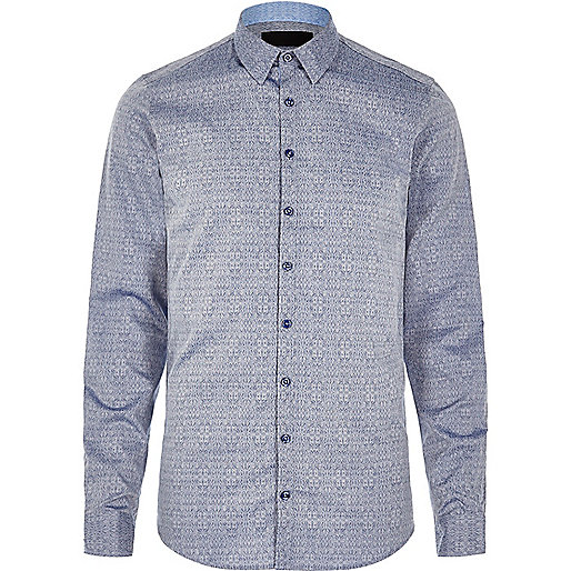Blue textured print Vito shirt