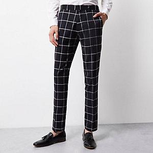 Navy Vito white print tux trousers