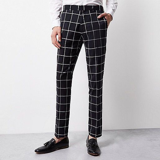 Navy Vito white print tux trousers