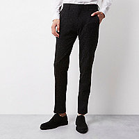Black textured Vito tux pants