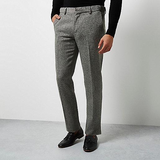 Pantalon de smoking Vito texturé gris