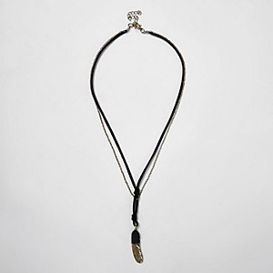 Black string and chain feather necklace