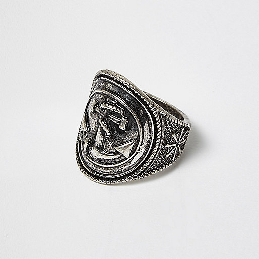 Dark silver tone anchor ring