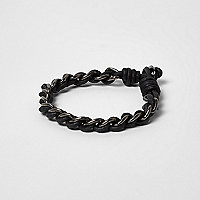 Black metallic chain cord bracelet
