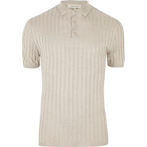 Light grey ribbed polo shirt