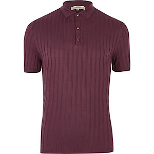 Purple ribbed polo shirt