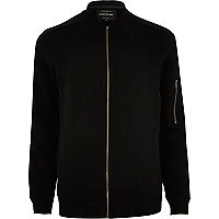 Black piped bomber jacket