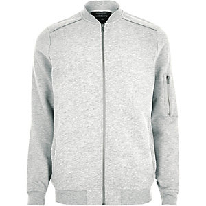 Grey piped bomber jacket