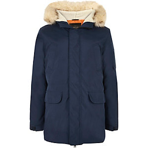 Navy blue faux fur trim hooded parka