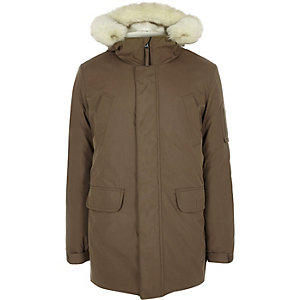 Brown faux fur trim hooded parka