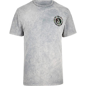 Grey marble wash California badge T-shirt
