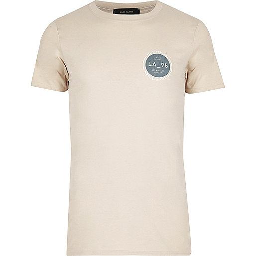 Steingraues T-Shirt mit LA-Print