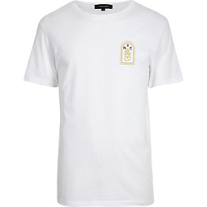 White 'Brooklyn' print T-shirt