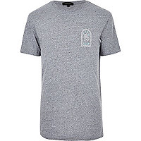 Grey slogan print T-shirt
