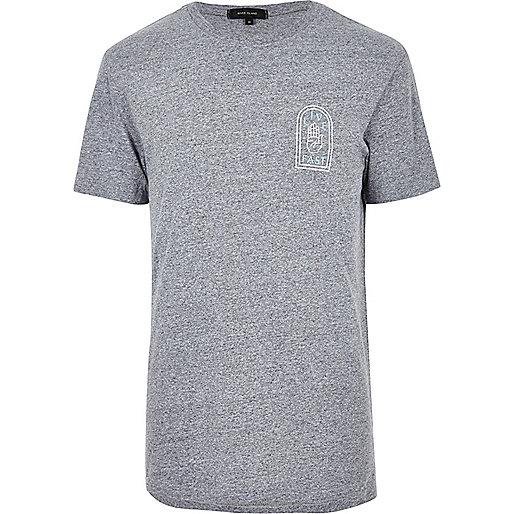 Grey slogan print T-shirt
