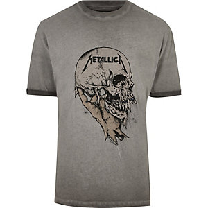 Grey Metallica print T-shirt