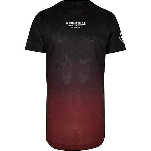 Black faded mesh 'Worldwide' T-shirt