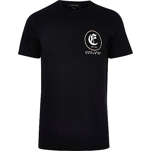 "Schwarzes, kurzärmliges T-Shirt ""East Coast"""