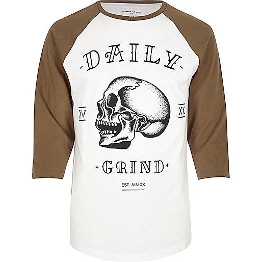 White skull print raglan T-shirt