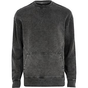 Sweatshirt mit Tasche in verwaschenem Schwarz