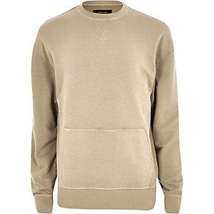 Sweatshirt mit Tasche in Creme