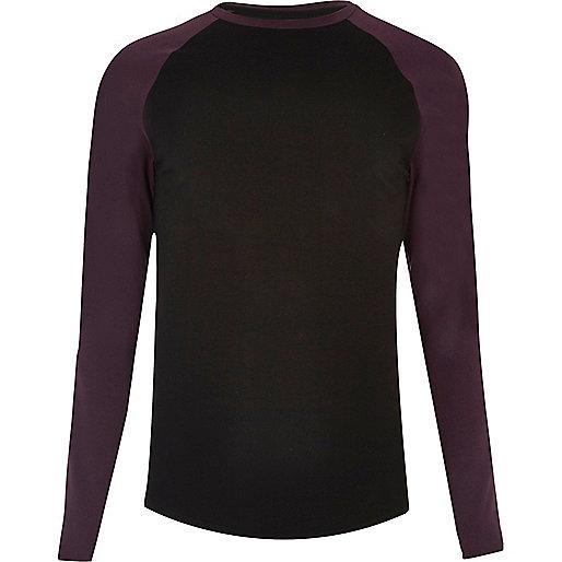 Black raglan muscle fit long sleeve T-shirt