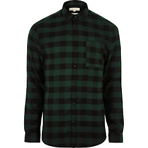 Green casual check muscle fit shirt